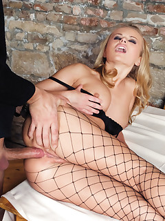 Girl in sexy fishnet tights fucking