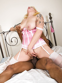 Blond chick with black dick