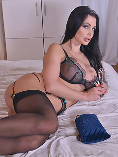 Sultry Moments: Busty Babe Crams Pussy With Glass Dildo! free photos and videos on DDFNetwork.com