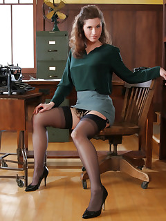 Office MILF in stockings
