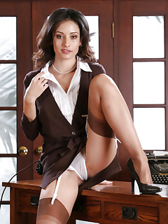 Business suit and stockings