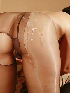 Pantyhosed slut getting her moist crotch penetrated.